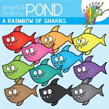 A Rainbow of Sharks Clipart Set
