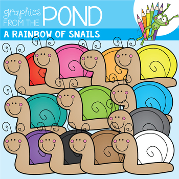 A Rainbow of Snails Clipart Set