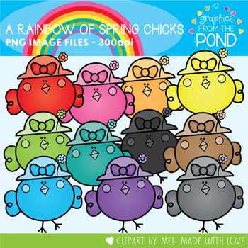 A Rainbow of Spring Chicks Clipart Set