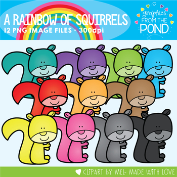 A Rainbow of Squirrels Clipart Set