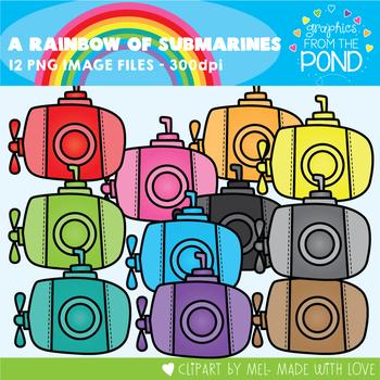 A Rainbow of Submarines Clipart Set
