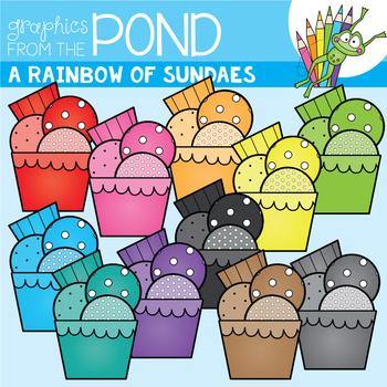 A Rainbow of Sundaes Clipart Set