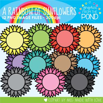 A Rainbow of Sunflowers Clipart Set