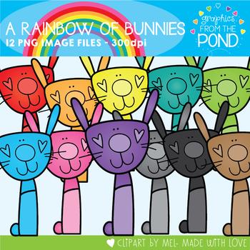 A Rainbow of Tall Bunnies Clipart Set