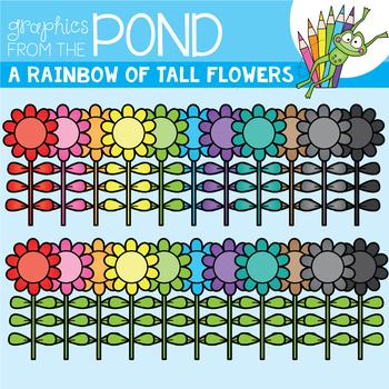 A Rainbow of Tall Flowers Clipart Set