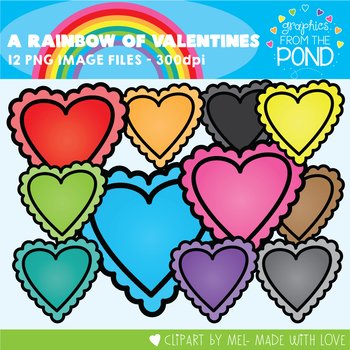 A Rainbow of Valentines Clipart Set