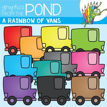 A Rainbow of Vans Clipart Set