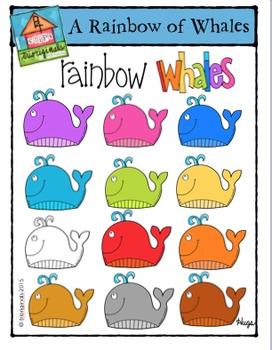 A Rainbow of Whales {P4 Clips Trioriginals Digital Clip Art}