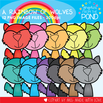 A Rainbow of Wolves Clipart Set