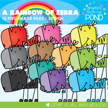 A Rainbow of Zebra Clipart Set