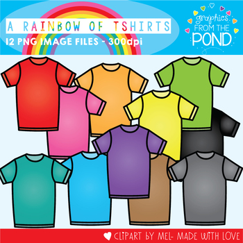 A Rainbow of t Shirts Clipart Set
