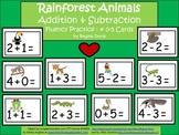 A+  Rainforest Animals Addition & Subtraction Fluency Practice Cards # 0-5