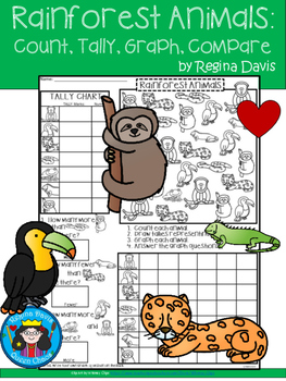 A+ Rainforest Animals... Count, Tally, Graph, and Compare