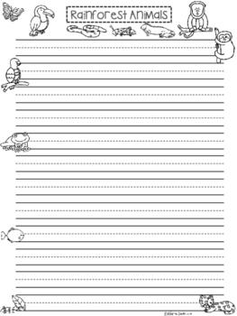 A+ Rainforest Animals ... Writing Paper