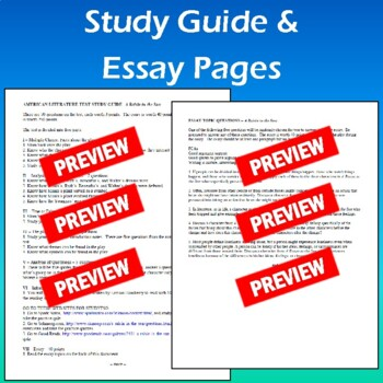 """""""A Raisin in the Sun"""": Test, Essay Test, Informational Text, Study Guide, & Key"""