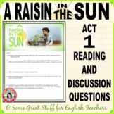 A RAISIN IN THE SUN ACT 1  Evaluation or Close Reading Activity