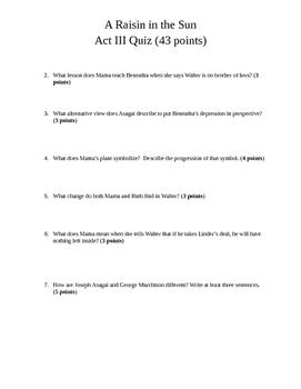 A Raisin in the Sun Act III Quiz