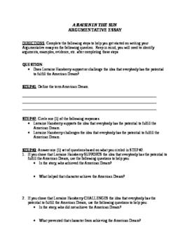 A Raisin in the Sun Argumentative Essay Assignment / Test