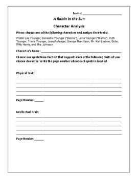 A Raisin in the Sun Character Analysis Activity - Lorraine Hansberry