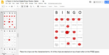 A Raisin in the Sun Digital Bingo Review Game (Google Drive Edition)