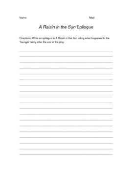 A Raisin in the Sun Epilogue Writing Assignment