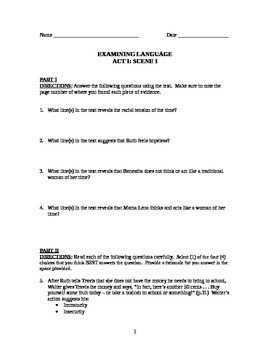 """A Raisin in the Sun"" Common Core Style Examining Language Handout (Act I.I)"