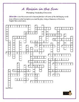 A Raisin in the Sun Prereading Xword—Aids Students' Understanding of the Play!