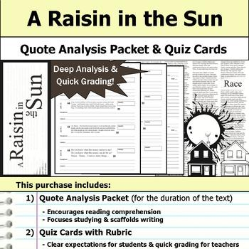 A Raisin in the Sun - Quote Analysis & Reading Quizzes