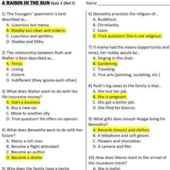 A Raisin in the Sun reading quizzes (4)