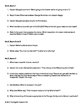 A Raisin in the Sun Study Guide Act Questions and Answer Key
