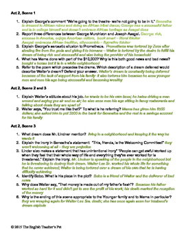 A Raisin In The Sun Quotes Quiz Worksheet - Dream Quotes From A ...