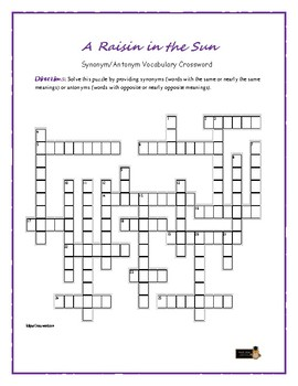 A Raisin in the Sun: Synonym/Antonym Vocabulary Crossword—Fun!