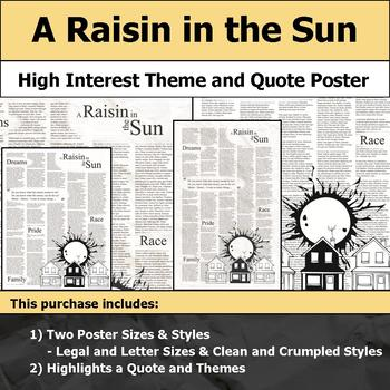 A Raisin in the Sun - Visual Theme and Quote Poster for Bulletin Boards