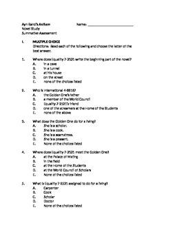 A. Rand's Anthem (Summative Assessment)