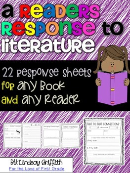 A Reader's Response to Literature {22 response sheets for