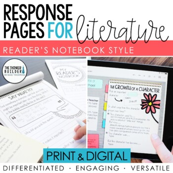 Reading Response Pages for Literature *HALF-PAGE SET*
