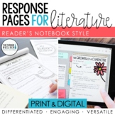 Reader's Notebook Response Pages for Literature *HALF-PAGE SET*