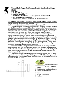 A  Reading Activity: Zombies in Nature