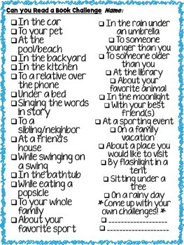 A Reading Challenge - FUN & Engaging