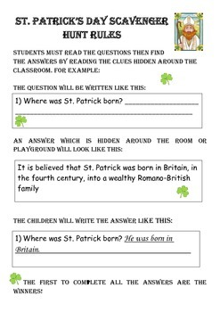 A Reading Comprehension Scavenger Hunt for St. Patrick's Day