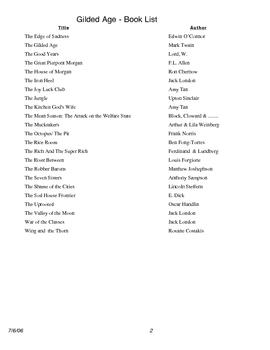A Reading list for Am. Studies Unit 2