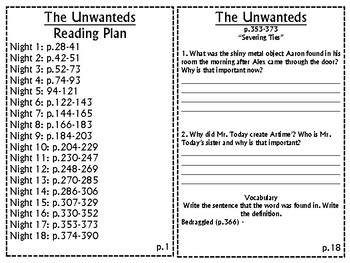 The Unwanteds by Lisa McCann Comprehensive Reading Response Packet