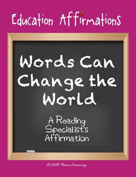A Reading Specialist's Affirmation (Professional Development)