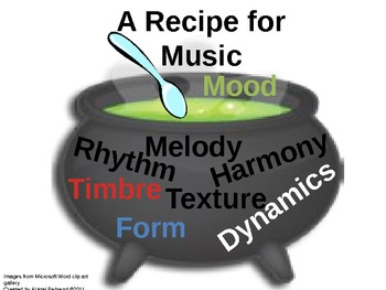 A Recipe for Music: a PowerPoint and worksheet for the elements of music