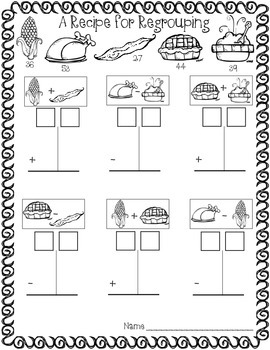 A Recipe for Regrouping {Double-Digit Addition Subtraction} FREEBIE