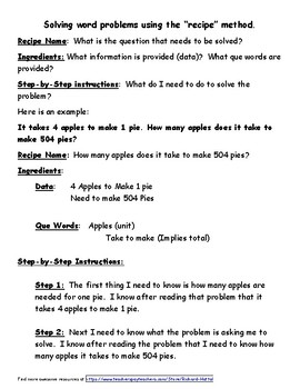 A Recipe for Solving Math Word Problems Strategy