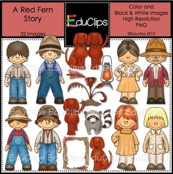A Red Fern Story Clip Art Bundle {Educlips Clipart}