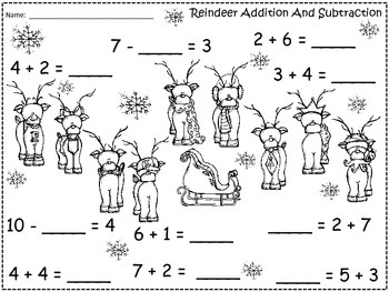 A+ Reindeer Addition and Subtraction Differentiated Practice