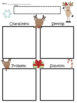 A+ Reindeer Blank Story Maps