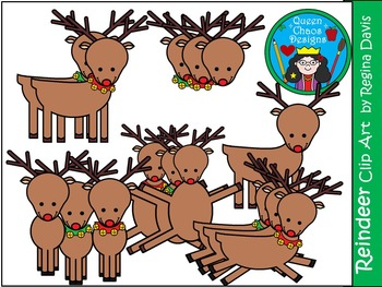 A+ Reindeer  Christmas Clip Art...Color And Black And White Included